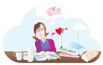Piirros jossa nainen haaveilee rakkaudesta kirjan ääressä