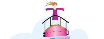 Piirros jossa nainen seisoo kädet levällään laivan keulassa