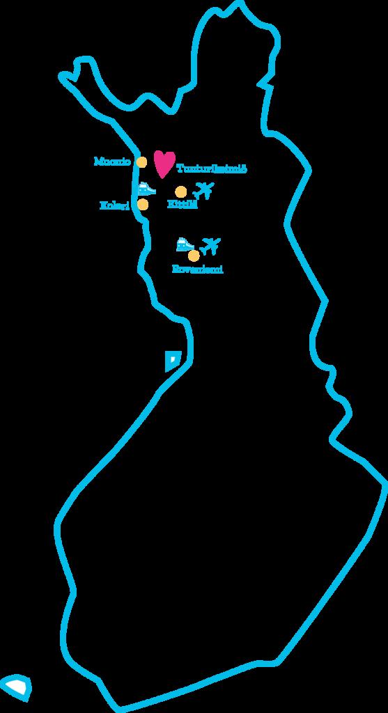 Tunturikeimiön sijainti Lapissa Suomen kartalla
