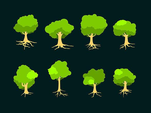 Piirroskuvia puista juurineen mustalla pohjalla