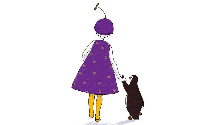 Itu-työ, piirroksessa tyttö taluttaa pingviiniä