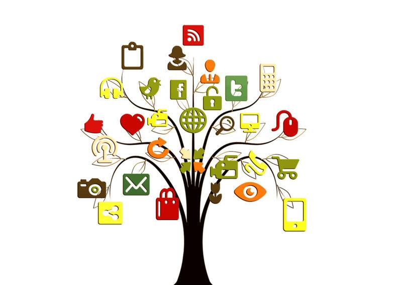 Somepuu, sosiaalisen media ikoneja puussa