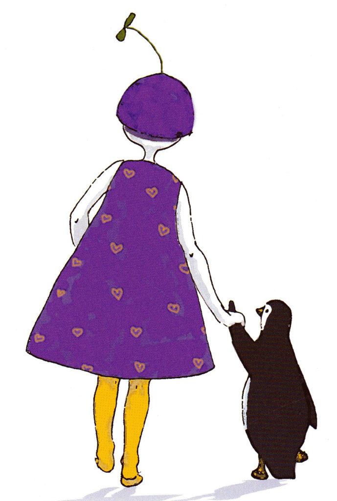 Piirros, jossa violettiin mekkoon pukeutunut tyttö ja pingviini kävelevät käsikkäin
