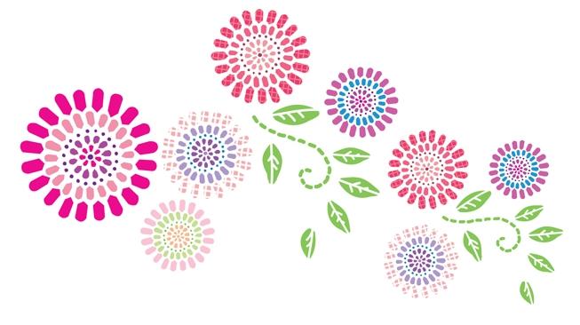 Graafinen kukkakuvio, jossa on pinkkejä, vaaleanpunaisia, punaisia ja violetteja kukkia sekä vihreitä lehtiä.