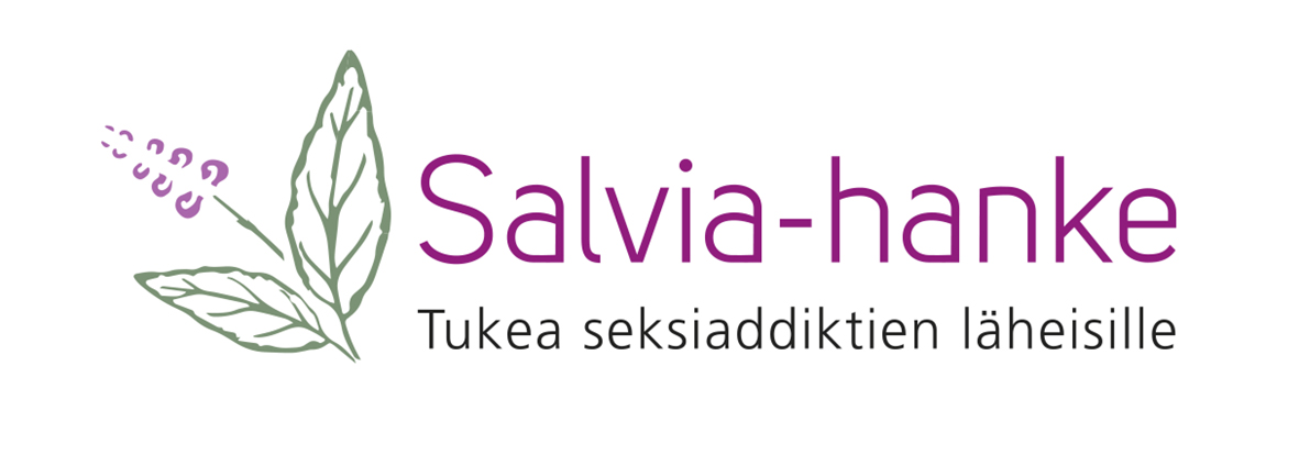 Graafinen kuva, jossa violetti kukka ja vihreitä lehtiä sekä teksti: salvia-hanke, tukea seksiaddiktien läheisille.